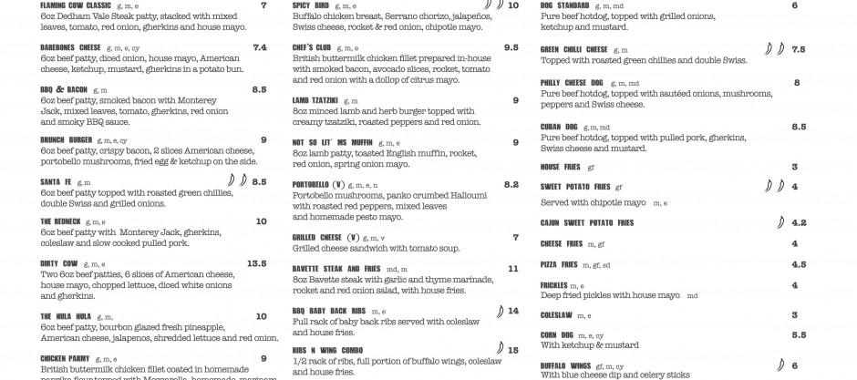 Flaming cow new menu