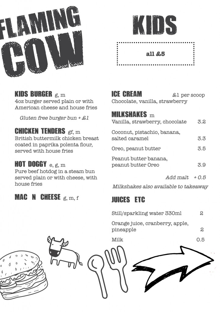 flaming cow kids menu