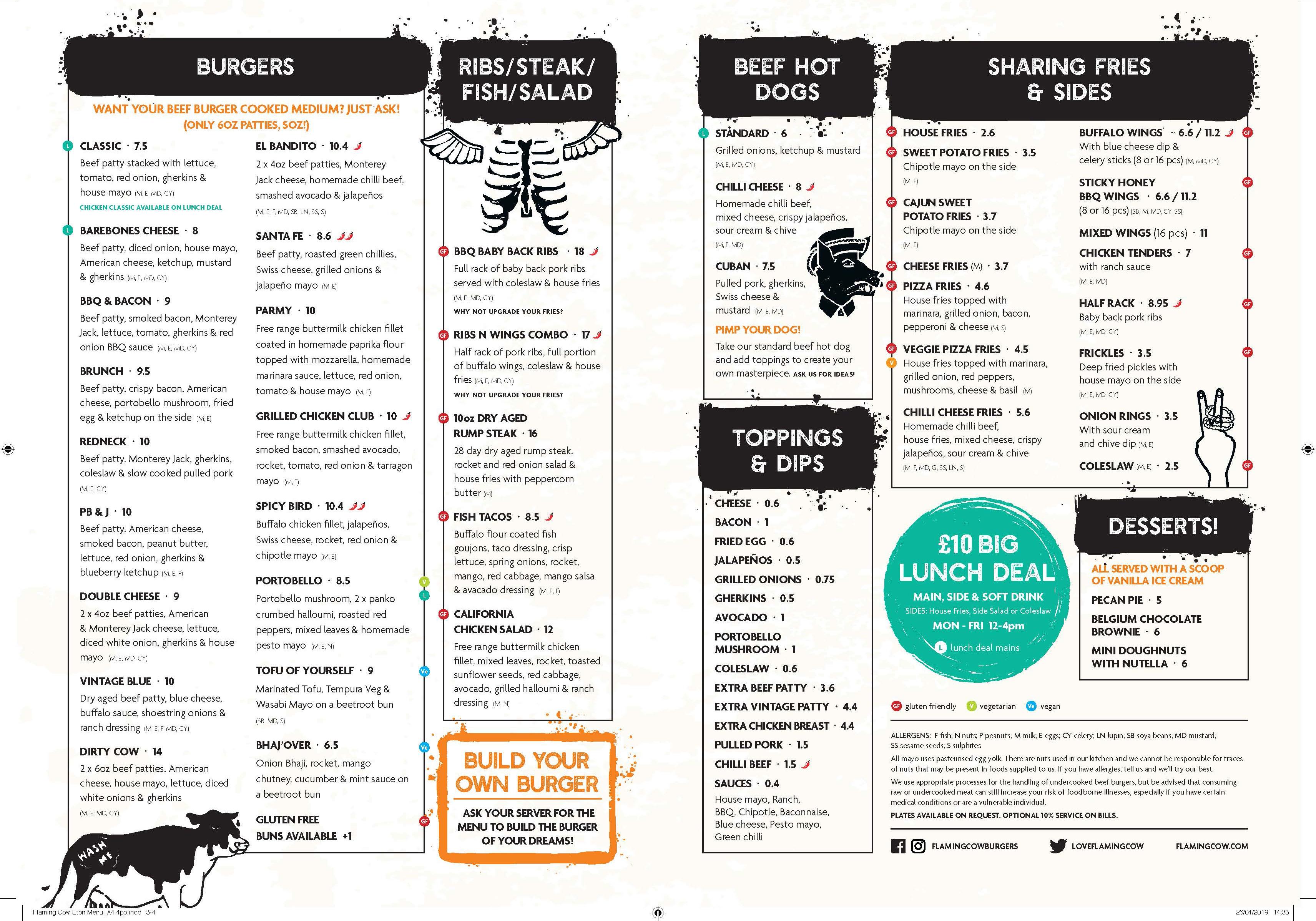 Flaming Cow - Food menu
