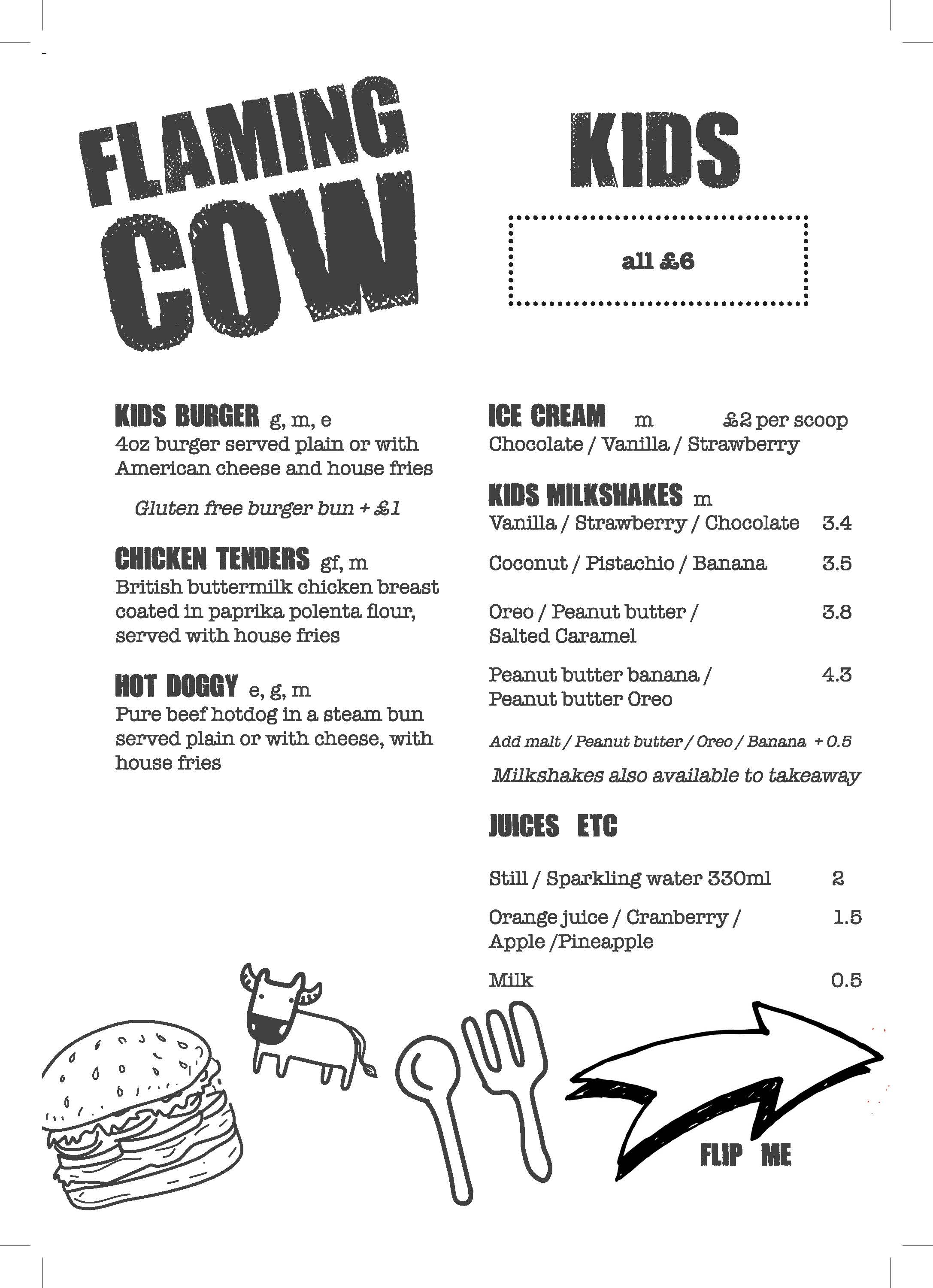 Flaming Cow - Kids menu